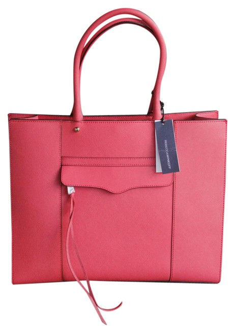 Item - Mab Morning After Coral Leather Tote