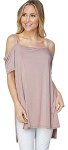 CY Fashion Spring Summer Cold Shoulder T Shirt Mauve