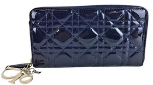 Dior Christian Dior Navy Cannage Quilted Patent Leather Zippy Wallet