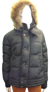 Moncler Black Mens Ribera Quilted Jacket Hooded Coyote Fur Puffer Parka 4 L Tuxedo