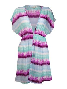 Miken Miken Women's V- Neck Dolman Tie-Dyed Chiffon Swim Cover Up