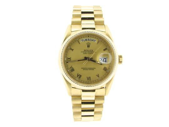 Rolex Mens Rolex 18K Gold Day-Date President Champagne Roman 18038 Image 0