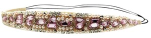 Elle Cross Dazzling Headband Pink Crystal White Faux Pearls, Faceted Crystals