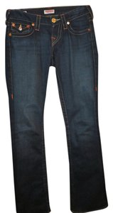 True Religion Low Rise Joey Flare Leg Dark Wash Boot Cut Jeans-Dark Rinse