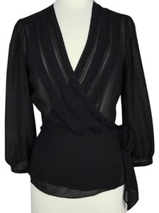 BCBGMAXAZRIA Wrap Self-tie Top Black