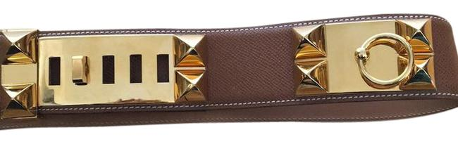 Item - Cognac Leather Gold Plated Buckle with Stud Embellishments Throughout. Collier De Chien- Belt