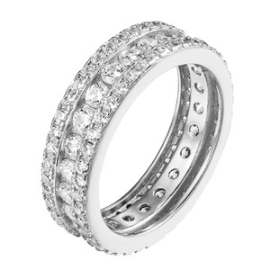 Other Womens Silver Tone Sterling Silver CZ Diamond Alluring Engagement Ring