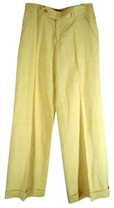 Ralph Lauren Linen Cuffed Flare Black Label Wide Leg Pants Wheat