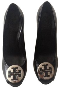 Tory Burch black with silver logo. Wedges