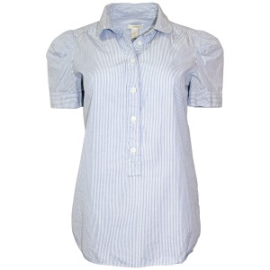 J.Crew Shirt Striped Cotton Machine Washable Puff-sleeve Button Down Shirt White/Blue Stripe