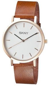 SKNY Men 's SK1001 Gold and Brown Genuine Leather Watch
