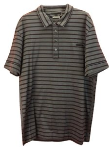 Prada Gray L Mens Milano Polo Buttons Striped Stretch Sleeves Italy Shirt