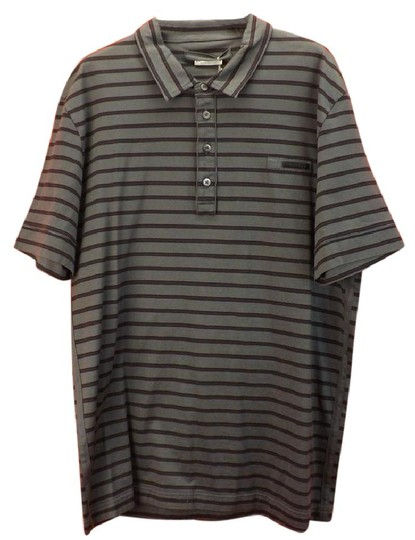 Prada Gray L Mens Milano Polo Buttons Striped Stretch Sleeves Italy Shirt Image 0