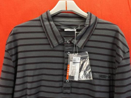 Prada Gray L Mens Milano Polo Buttons Striped Stretch Sleeves Italy Shirt Image 1