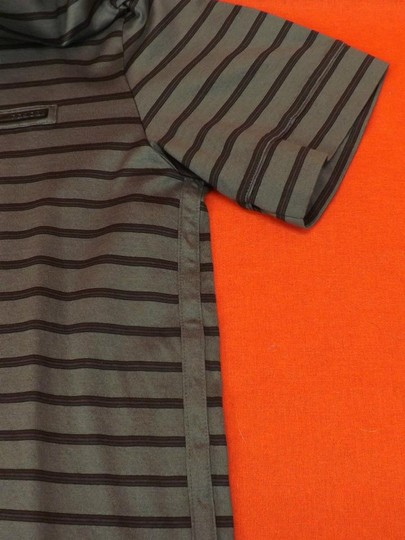 Prada Gray L Mens Milano Polo Buttons Striped Stretch Sleeves Italy Shirt Image 2