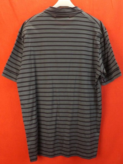 Prada Gray L Mens Milano Polo Buttons Striped Stretch Sleeves Italy Shirt Image 5