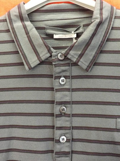 Prada Gray L Mens Milano Polo Buttons Striped Stretch Sleeves Italy Shirt Image 6
