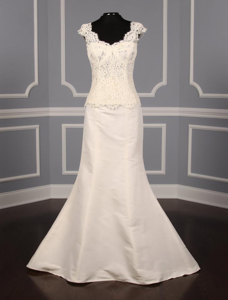 Monique Lhuillier Ivory French Alencon Lace and Silk ...