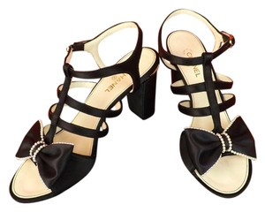 Chanel Buckle T-strap Leather Strappy Silk Black Sandals