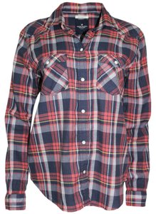 American Eagle Outfitters Shirt Flannel Plaid Cotton Button Down Shirt Red Combo