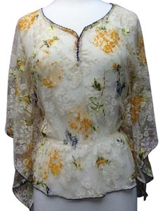 Free People Lace Floral Sheer Boho Top Beige/Multi Color