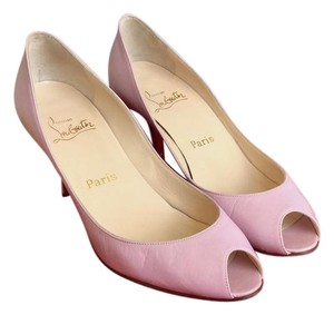 Christian Louboutin Leather Peep Toe Heels Pink Pumps