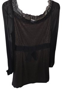 Philosophy di Alberta Ferretti Cocktail Silk Black Gold Dress