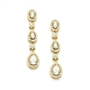 Micro Pave Crystals Gold Bridal Earrings