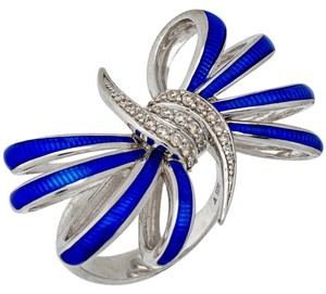 Stephen Webster Stephen Webster Forget Me Knot diamond blue enamel Bow ring in silver