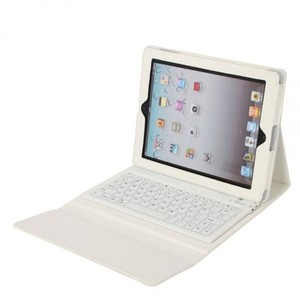 Other White iPad 2, 3 & 4 Faux Leather Cover Case with Bluetooth Keyboard