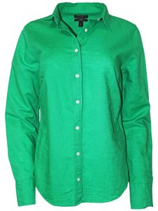 J.Crew Shirt Cotton Linen Machine Wash Button Down Shirt Emerald
