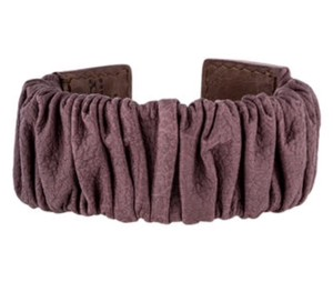 Burberry BURBEERY MAUVE RUCHED LEATHER CUFF RUNWAY BRACELET