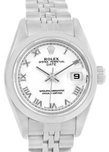 Rolex Rolex Date White Roman Dial Ladies Steel Watch 79160 Box Papers