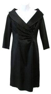 Kay Unger Pleated Sateen Dress