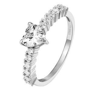 Other Heart Cut Solitaire Engagement Ring Promise 14k Gold On Silver 925