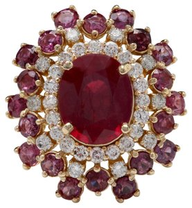 Other 9.57 Carats Natural Red Ruby and Diamond 14K Solid Yellow Gold Ring