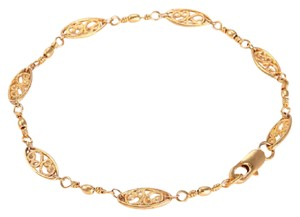 Other NEW 18K Yellow Gold Filled Estate Intricate Brushed Link Bracelet