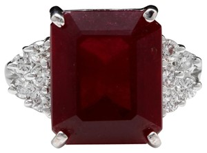 Other 13.00 Carats Natural Red Ruby and Diamond 14K Solid White Gold Ring