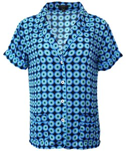 J.Crew Pajama Poly Pockets Floral Button Down Shirt Blue Combo