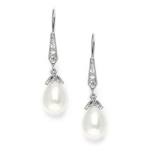 Silver/Rhodium Vintage Style Crystal Pearl Drop Earrings