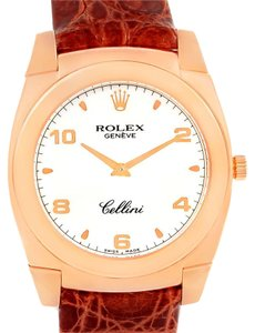 Rolex Rolex Cellini Cestello Rose Gold White Dial Brown Strap Watch 5330