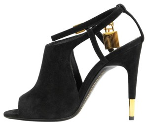 Tom Ford Peep Toe Padlock Suede Black Sandals