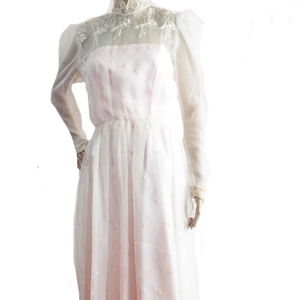 Pink vintage lace toile pale victorian inspired tea for Mid length wedding dress