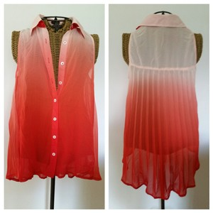 Ya Los Angeles Ombre Sleeveless Fanned Top Coral peach