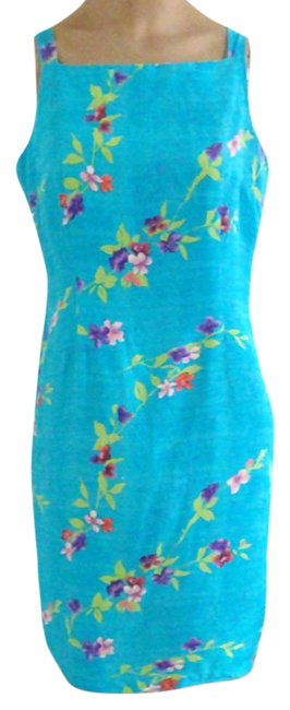 Preload https://img-static.tradesy.com/item/21301285/vibrant-turquoise-with-floral-motif-sundress-silk-wfloral-short-cocktail-dress-size-4-s-0-1-650-650.jpg