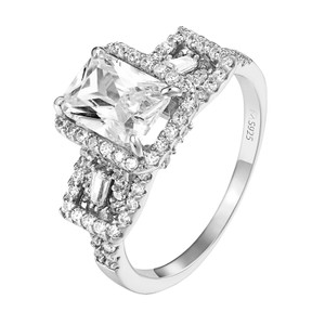 Other Sterling Silver Solitaire Ring Wedding Engagement Radiant Cut CZ Women