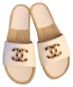 Chanel White & Multi Mules