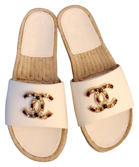 Item - White & Multi 17p G32607 X52189 Calfskin Cc Crystal Mules/Slides Size US 6.5 Wide (C, D)