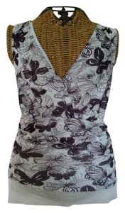 Anthropologie Butterfly Stretchy Nylon Wrap Top Blue