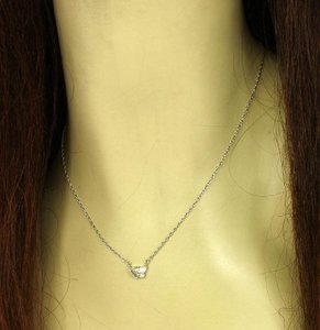 Other Estate 14k White Gold .95ct Butterfly Cut Diamond Solitaire Necklace